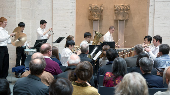 The New England Conservatory of Music's Brass Quintet and Percussion Ensemble opened the ceremony with the original composition Inauguration Theme and Fanfare, by Jerold S. Kayden.