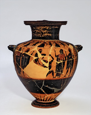 The terracotta hydria before insertion of the fragment. The scene depicted is that of Theseus and the Minotaur, a popular scene on Greek vases.