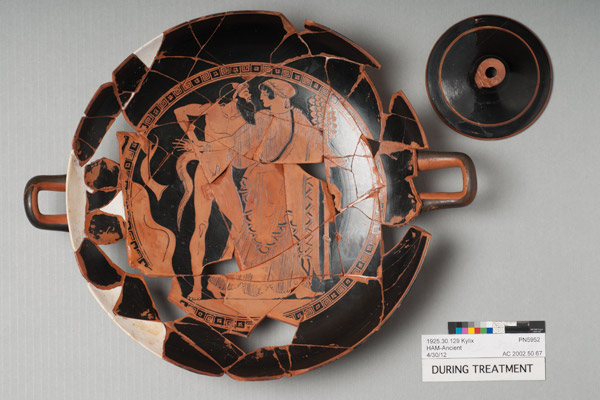 The kylix during treatment.