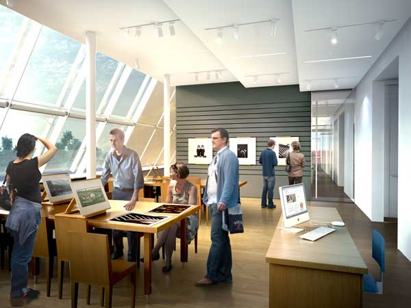 Rendering of the Art Study Center. Courtesy Renzo Piano Building Workshop.