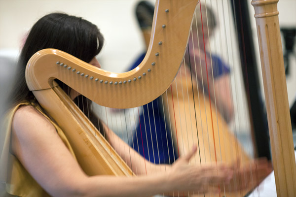 A trio of professional harpists performed a new composition written for the occasion.