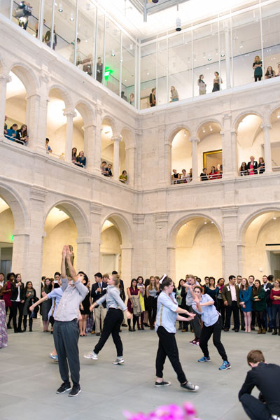 Students in the Harvard Dance Project surprised the crowd with a dance performance inspired by the building.