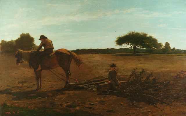 Winslow Homer, The Brush Harrow, 1865. Oil on canvas. Harvard Art Museums/Fogg Museum, Anonymous gift, 1939.229.