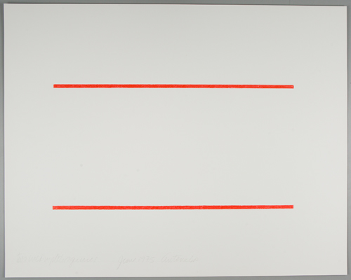 Stephen Antonakos, Two Incomplete Squares (1), 1975. Colored pencil on off-white card. Harvard Art Museums/Fogg Museum, The Dorothy and Herbert Vogel Collection: Fifty Works for Fifty States, a joint initiative of the Trustees of the Dorothy and Herbert Vogel Collection and the National Gallery of Art, with generous support from the National Endowment for the Arts and the Institute of Museum and Library Services, 2008.330.15. © Stephen Antonakos.