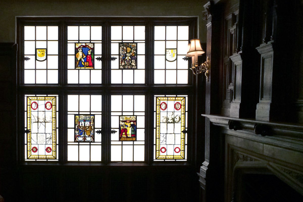 The recently reinstalled stained-glass windows in the Naumburg Room.