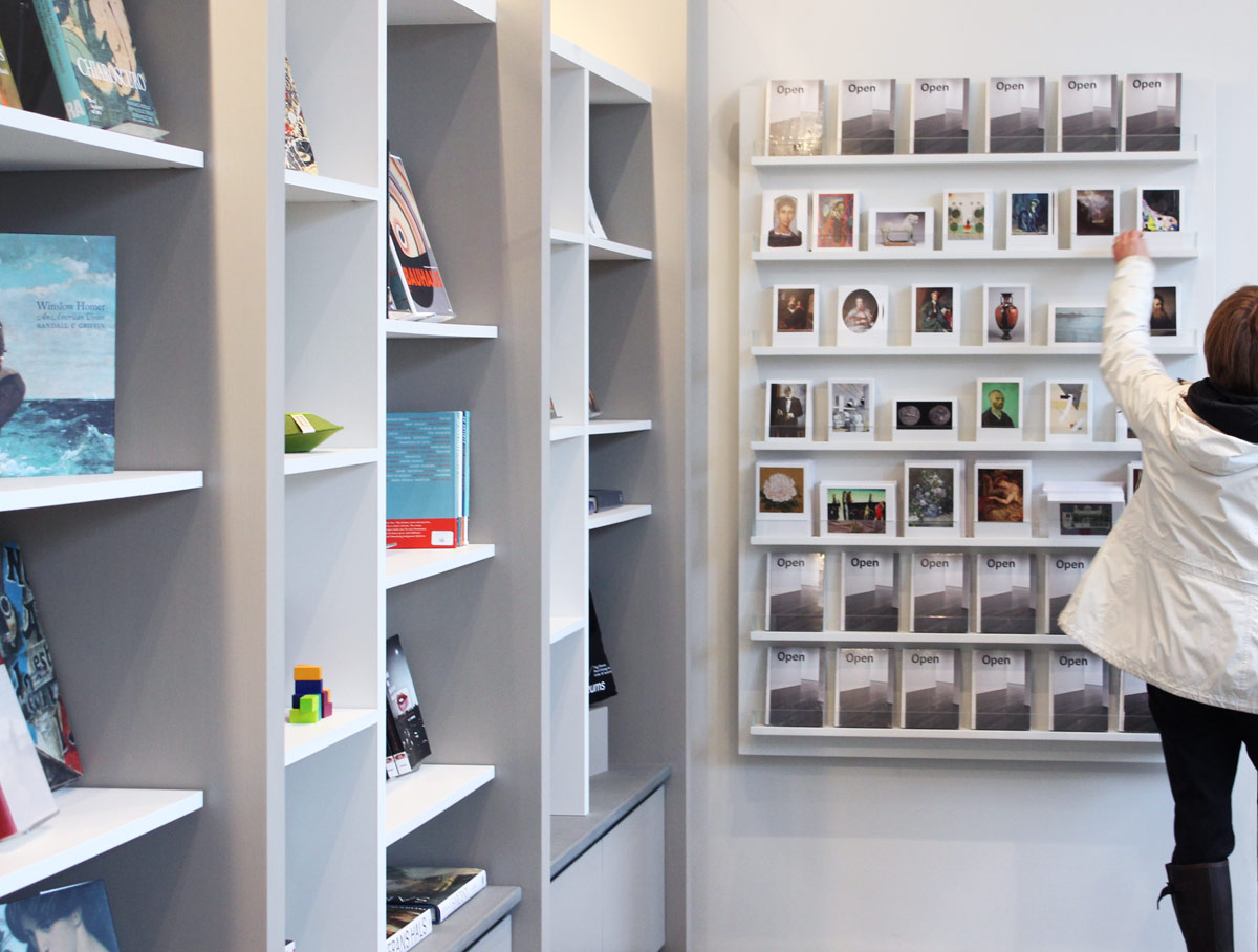 Postcards and books are among the items for sale in the Harvard Art Museums' shop.