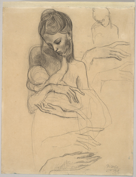 Pablo Ruiz Picasso,A Mother and Child and Four Studies of Her Right Hand, 1904, Harvard Art Museums/Fogg Museum.