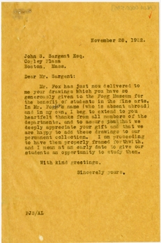 Letter, Paul Sachs to John Singer Sargent, November 28, 1922. Courtesy Harvard Art Museums Archives.