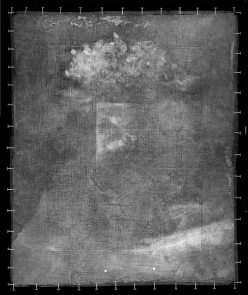This X-ray image of Georges Pierre Seurat's Vase of Flowers (c. 1879–81) shows where Seurat changed the position of the table in the composition. On the bottom left, the defined edge does not match the edge of the table in thepainting when seen under normal light.