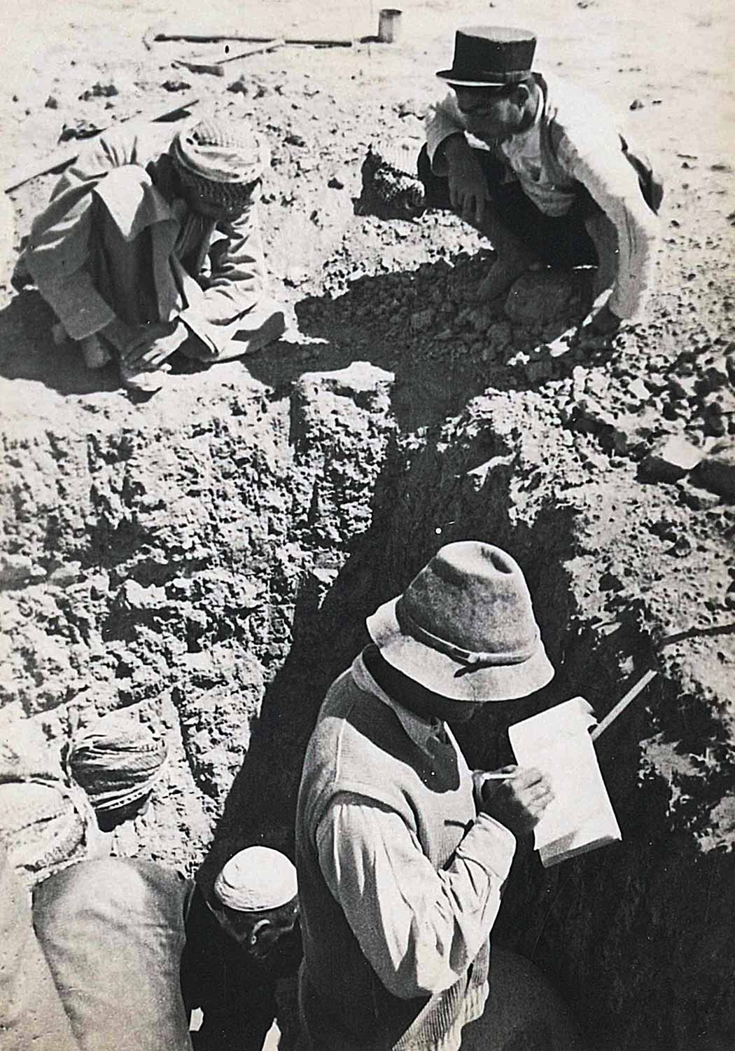 """One of several snapshots captures the moment when the two tablets were excavated. Hans-Wichart von Busse, """"Snapshot of excavation of tablets."""" Gelatin silver print. Collection of Azita Bina and Elmar W. Seibel, TL41708.31."""