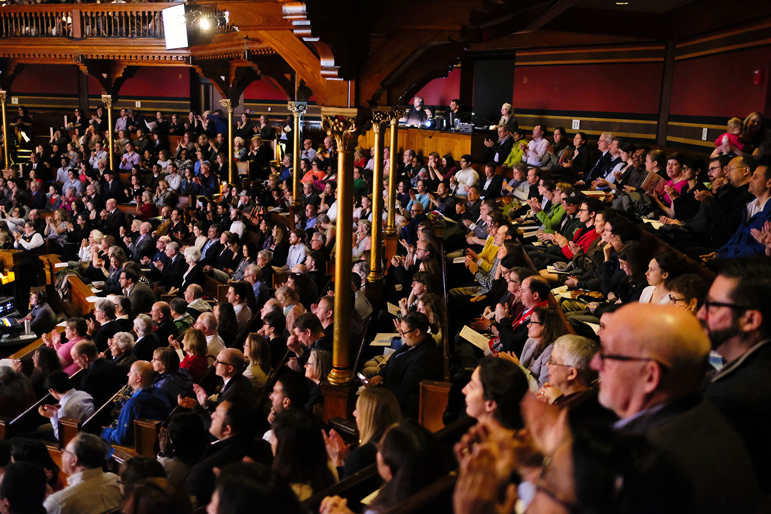 An audience of colleagues, family, and friends of Harvard Heroes packed Memorial Hall for the ceremony. Photo: Channing Johnson.