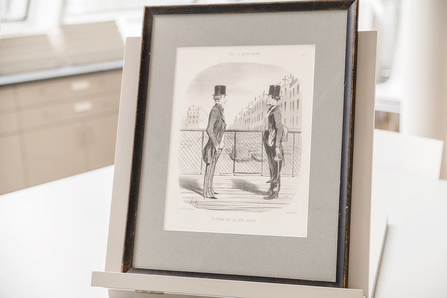 "Honoré-Victorin Daumier's 1849 lithograph ""Un Homme dans ses petits souliers"" is among the works in the Student Print Rental Collection."