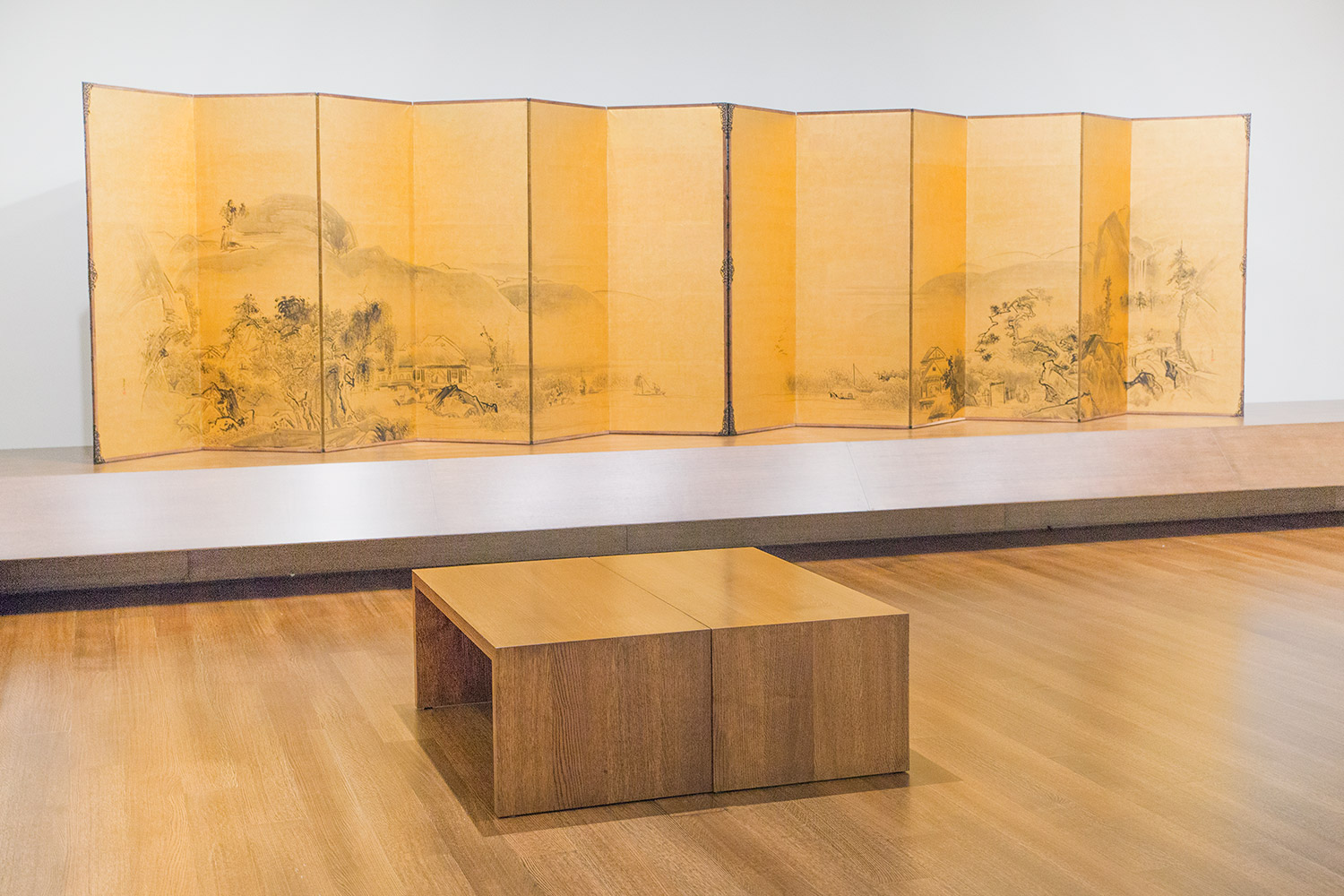 """Watanabe Shikō, """"Landscape,"""" early 18th century. Screen painting. Promised gift of Robert S. and Betsy G. Feinberg."""