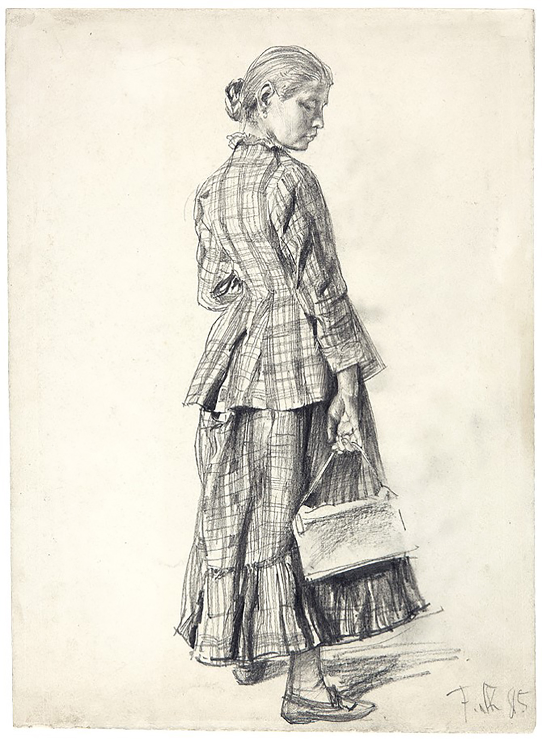 Franz Skarbina, Young Woman in Street Costume, 1885. Graphite. Harvard Art Museums/Fogg Museum, Marian H. Phinney Fund, 2017.112.
