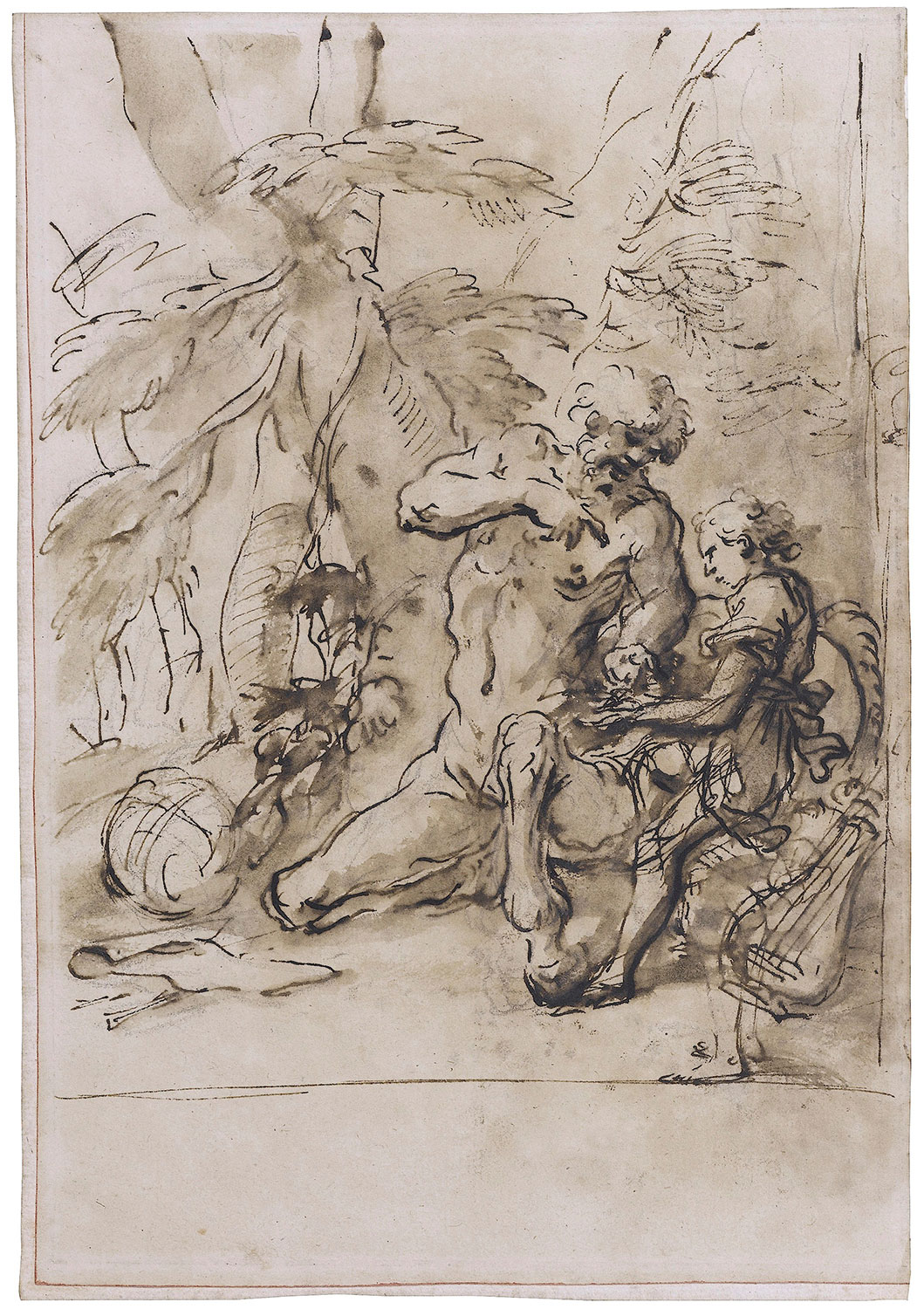 Salvator Rosa, Chiron the Centaur Teaching the Young Achilles, c. 1666. Brown ink and brown wash over black chalk. Harvard Art Museums/Fogg Museum, Richard Norton Fund, 2017.82.