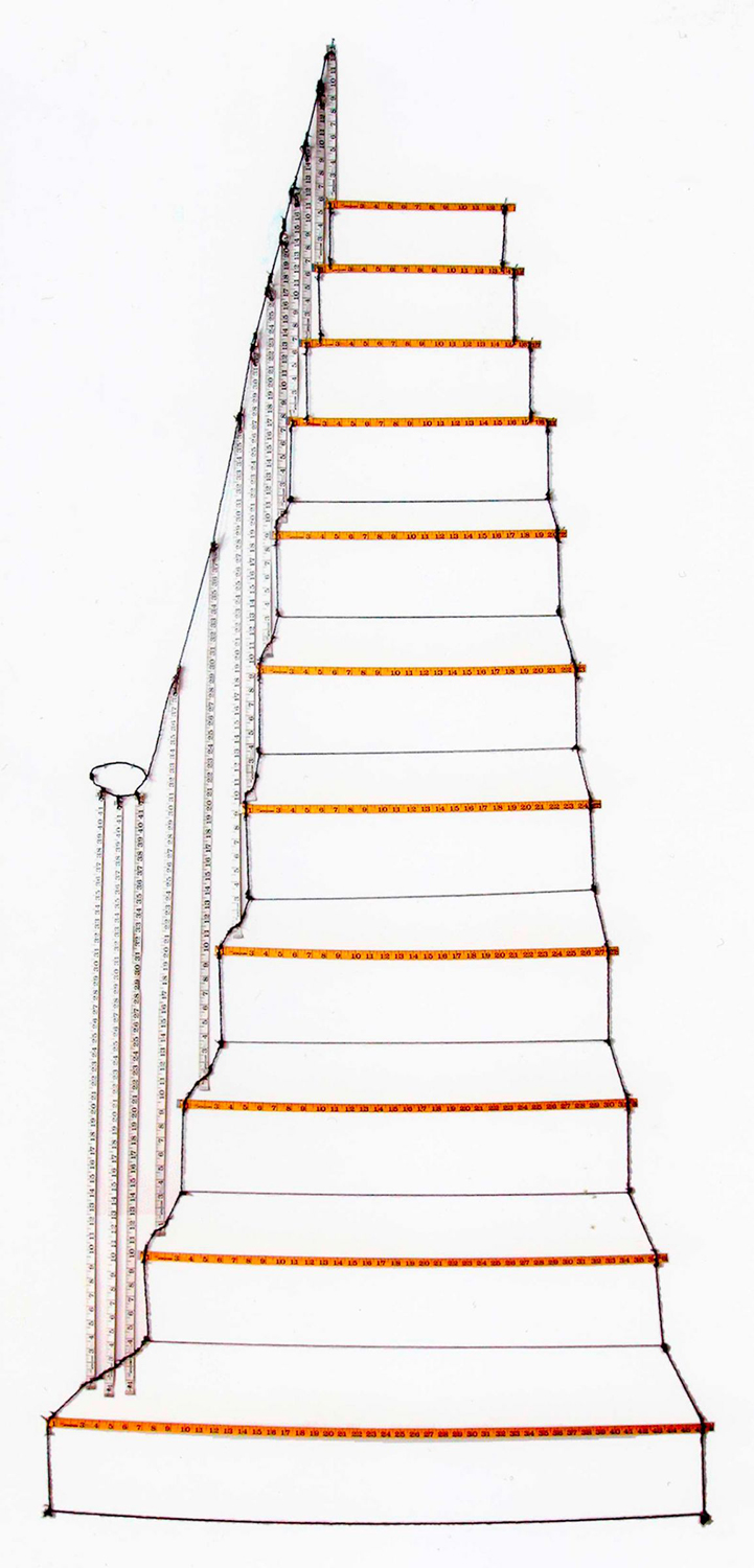 Mimi Smith, Stairs, 1974. Knotted thread, tape measures, eyelets. Harvard Art Museums/Fogg Museum, Margaret Fisher Fund, 2009.53.