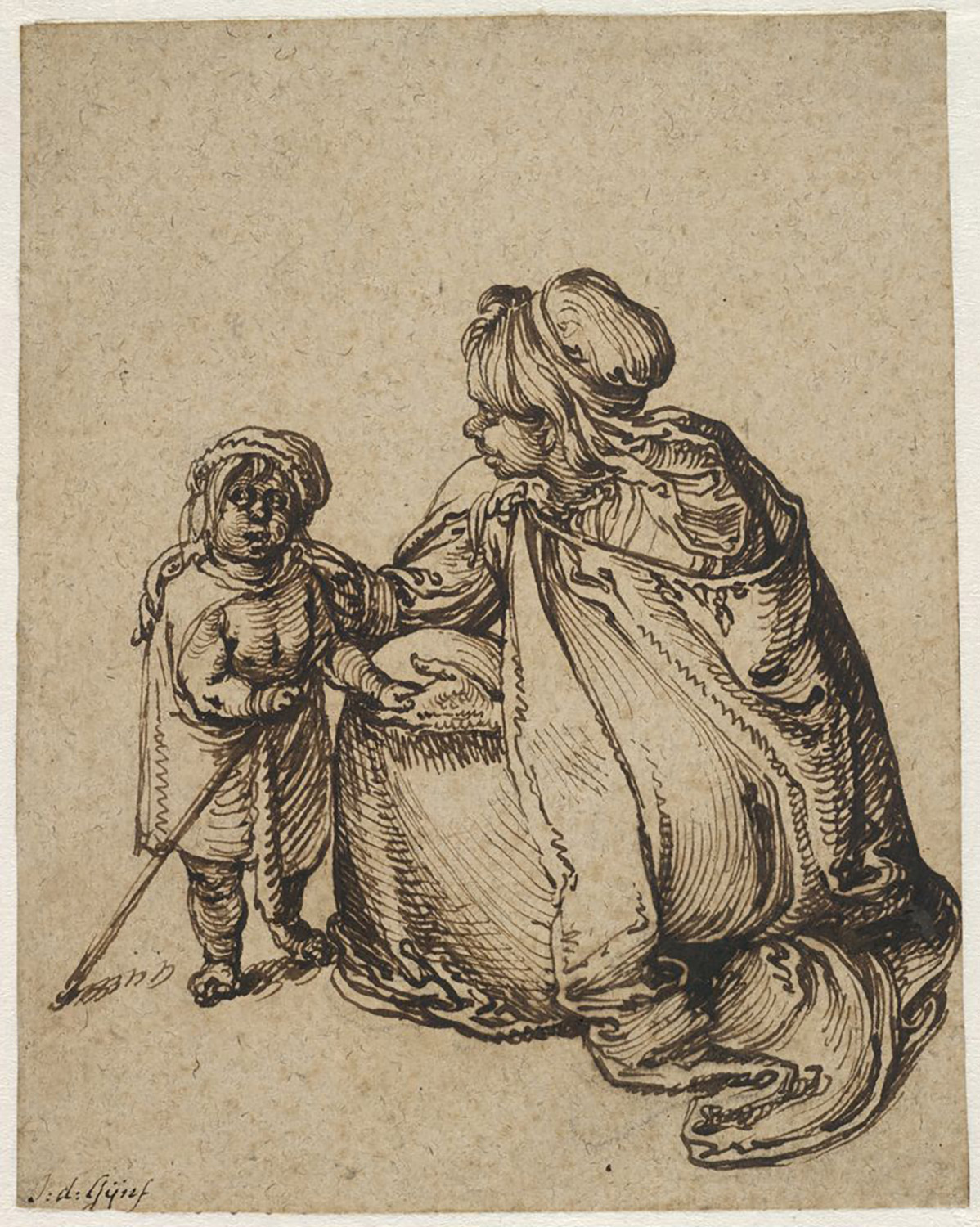 Jacques de Gheyn II, A Roma Woman with a Child, c. 1604. Brown ink and black chalk on paper. The Maida and George Abrams Collection, Fogg Art Museum, Harvard University, Cambridge, Massachusetts, Promised gift, 25.1998.10.
