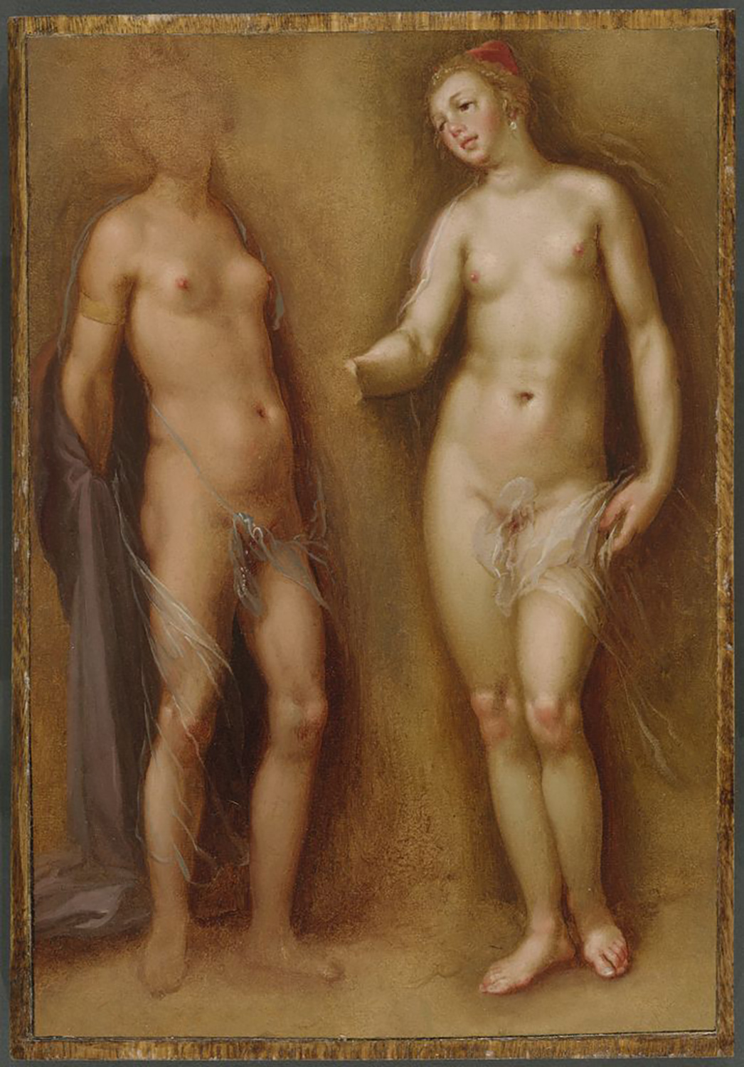 Cornelis Cornelisz. van Haarlem, Two Female Nudes, c. 1608. Oil on paper, varnished, mounted on panel. Maida and George Abrams Collection, Boston, Massachusetts, TL41760.25.