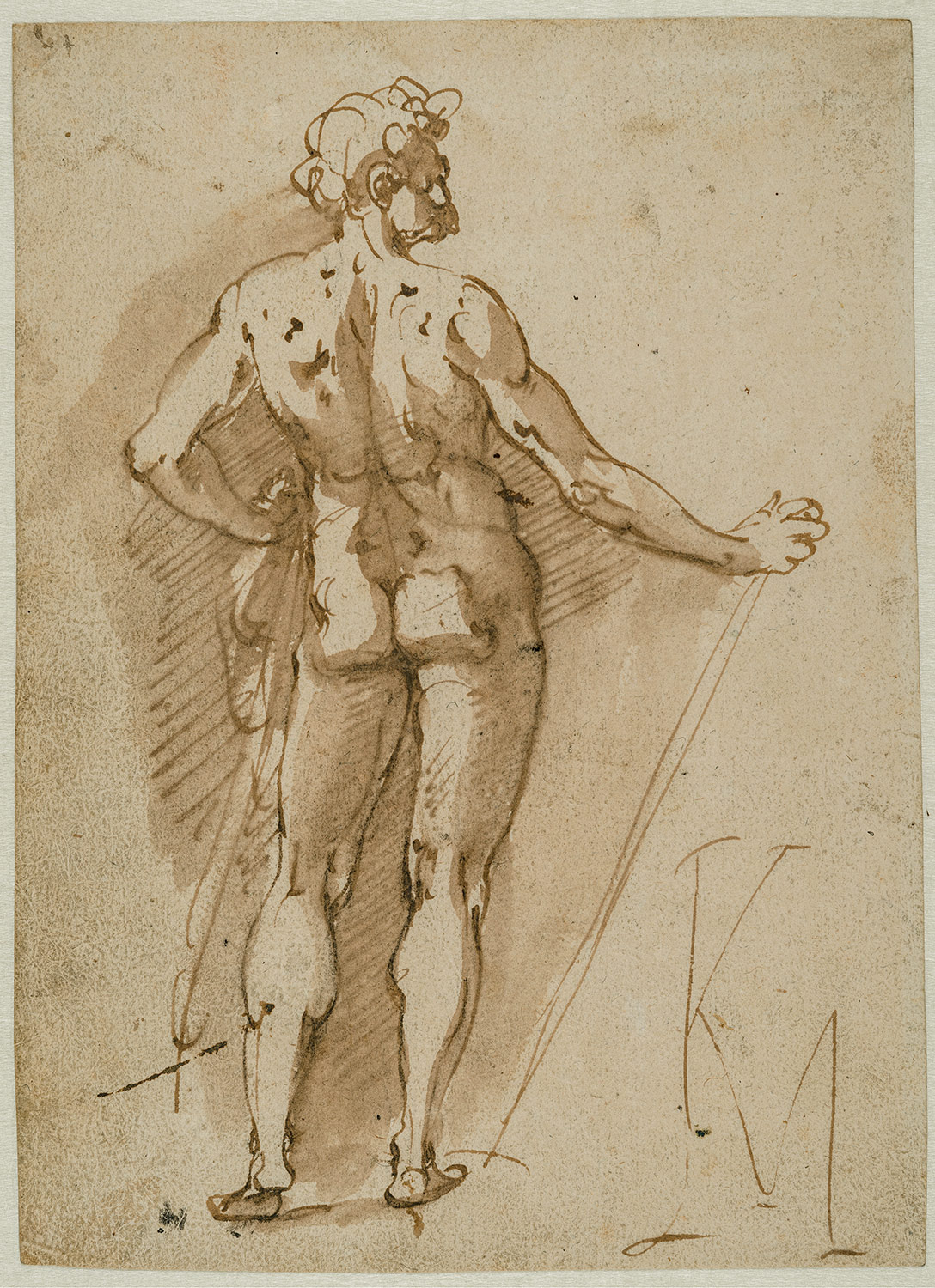 Karel van Mander, Standing Male Nude, c. 1588–90. Brown ink and brown wash over traces of black chalk on paper. Maida and George Abrams Collection, Boston, Massachusetts, TL41760.13.