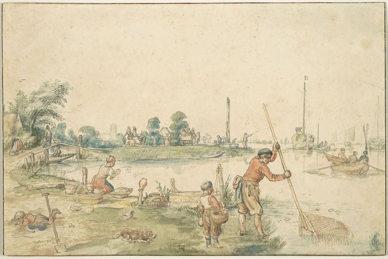 Hendrick Barentsz. Avercamp, Landscape (near Ouderkerk?) with a Fisherman, 17th century. Brown ink and watercolor over graphite on beige antique laid paper. Maida and George Abrams Collection, Boston, Massachusetts, TL41760.16.