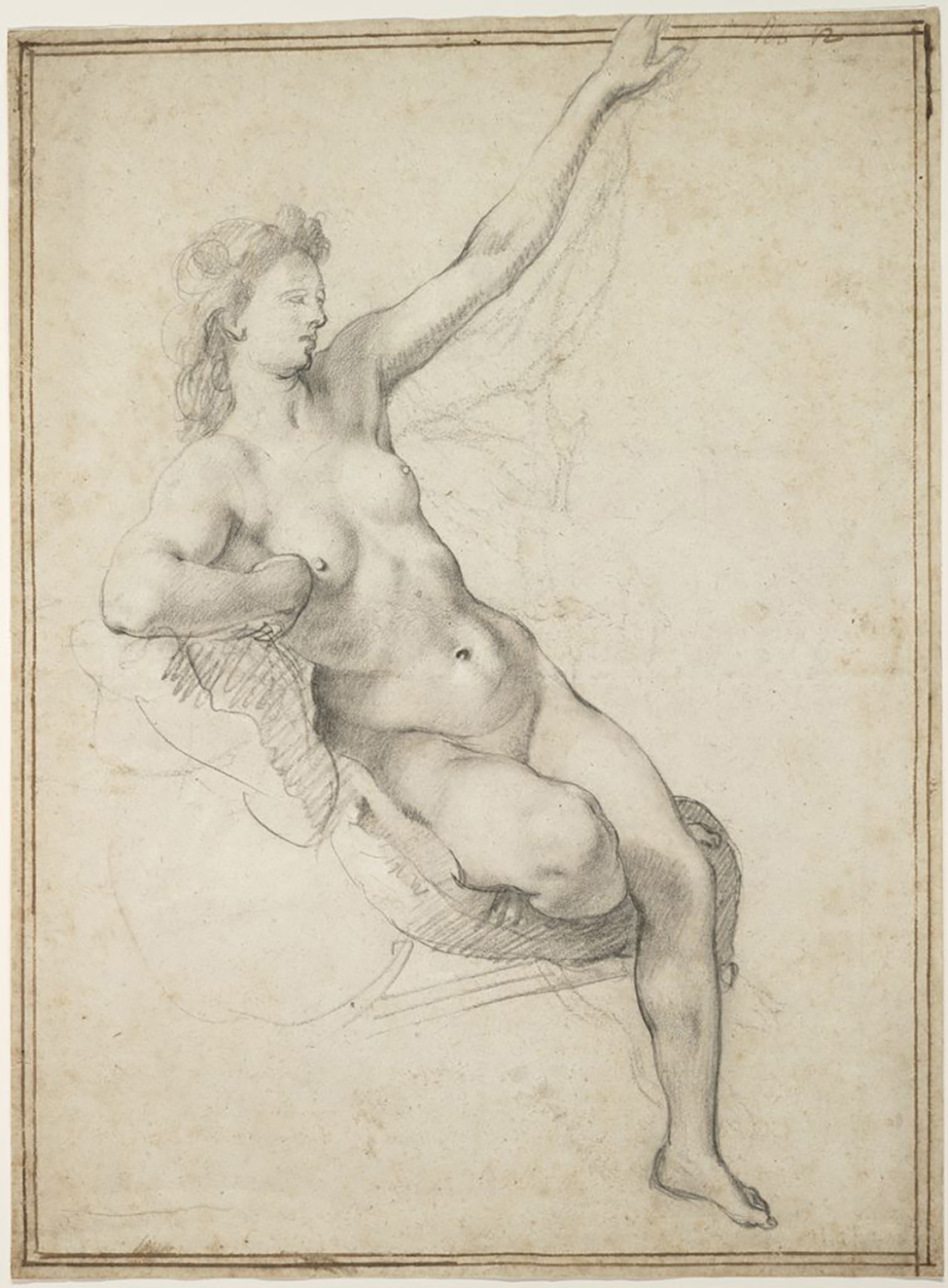 Hendrick Goltzius, Seated Female Nude, c. 1594–1600. Black chalk on paper; later borderline in brown ink. Maida and George Abrams Collection, Boston, Massachusetts, TL41760.1.