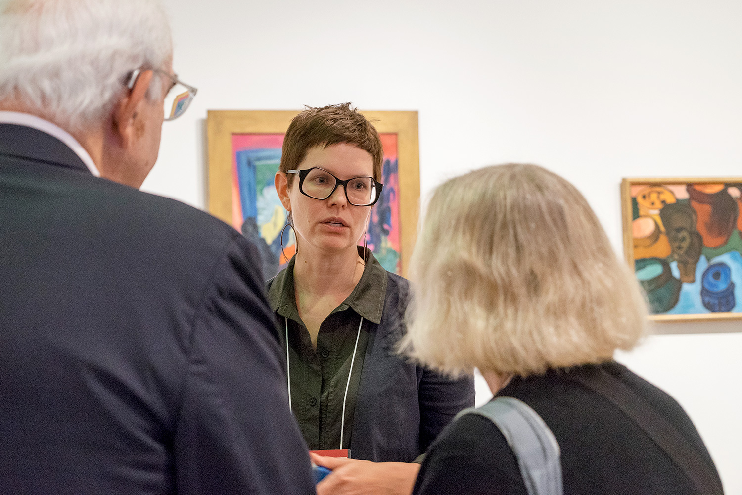 Lynette Roth speaks in the Busch-Reisinger Museum galleries with guests during the Art & Ideas program.