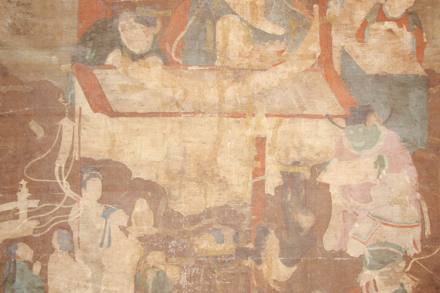 The application of paint on the reverse of the silk ground of the painting (known in Japanese as urazaishiki) was discovered after the layers of backing paper were removed.