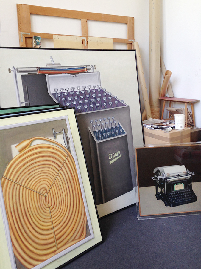 As part of her research for Inventur, Roth visited Konrad Klapheck's studio and met directly with the artist, who will speak during the exhibition's opening event. At Klapheck's studio, Roth viewed some of the artist's recent works as well as his seminal 1955 painting Typewriter (at right), which will be on loan for the exhibition.