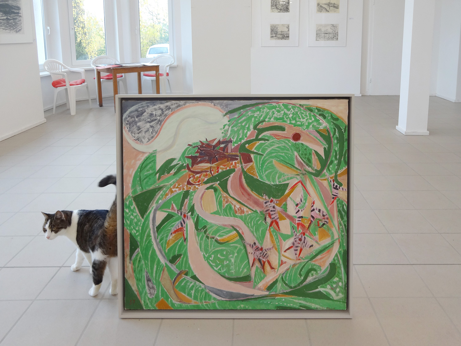 During a visit to the Museum Atelierhaus Rösler-Kröhnke in Ostseebad Kühlungsborn, Voermann took this photograph of a painting by Louise Rösler (and a furry resident).