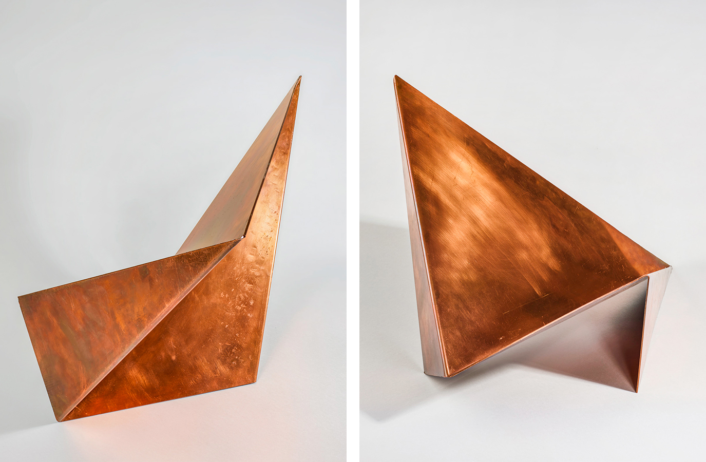 Hermann Glöckner, Spatial Refraction of a Rectangle (two views), 1945–46. Copper. Harvard Art Museums/Busch-Reisinger Museum, Promised gift of Kathrin Presser-Velder and Markus Michalke, Munich, in honor of Gisela Michalke. Artwork: © 2017 Artists Rights Society (ARS), New York/VG Bild-Kunst, Bonn. Photo: © Johannes von Mallinckrodt.