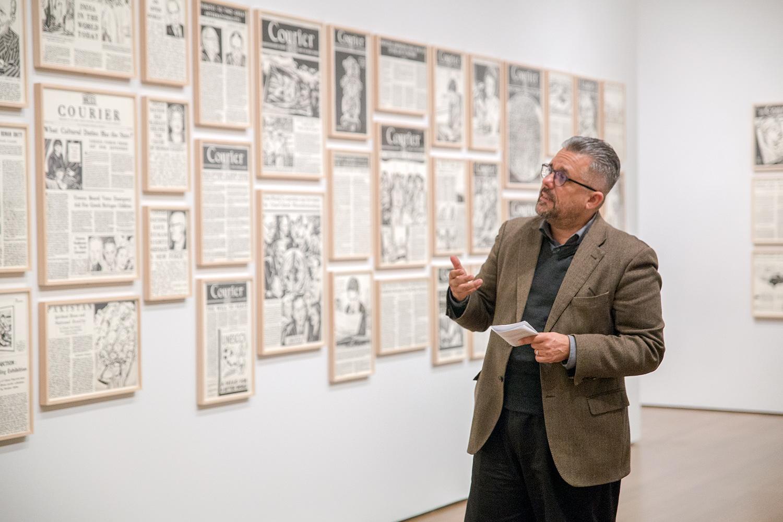 Artist Fernando Bryce discussed his installation _[