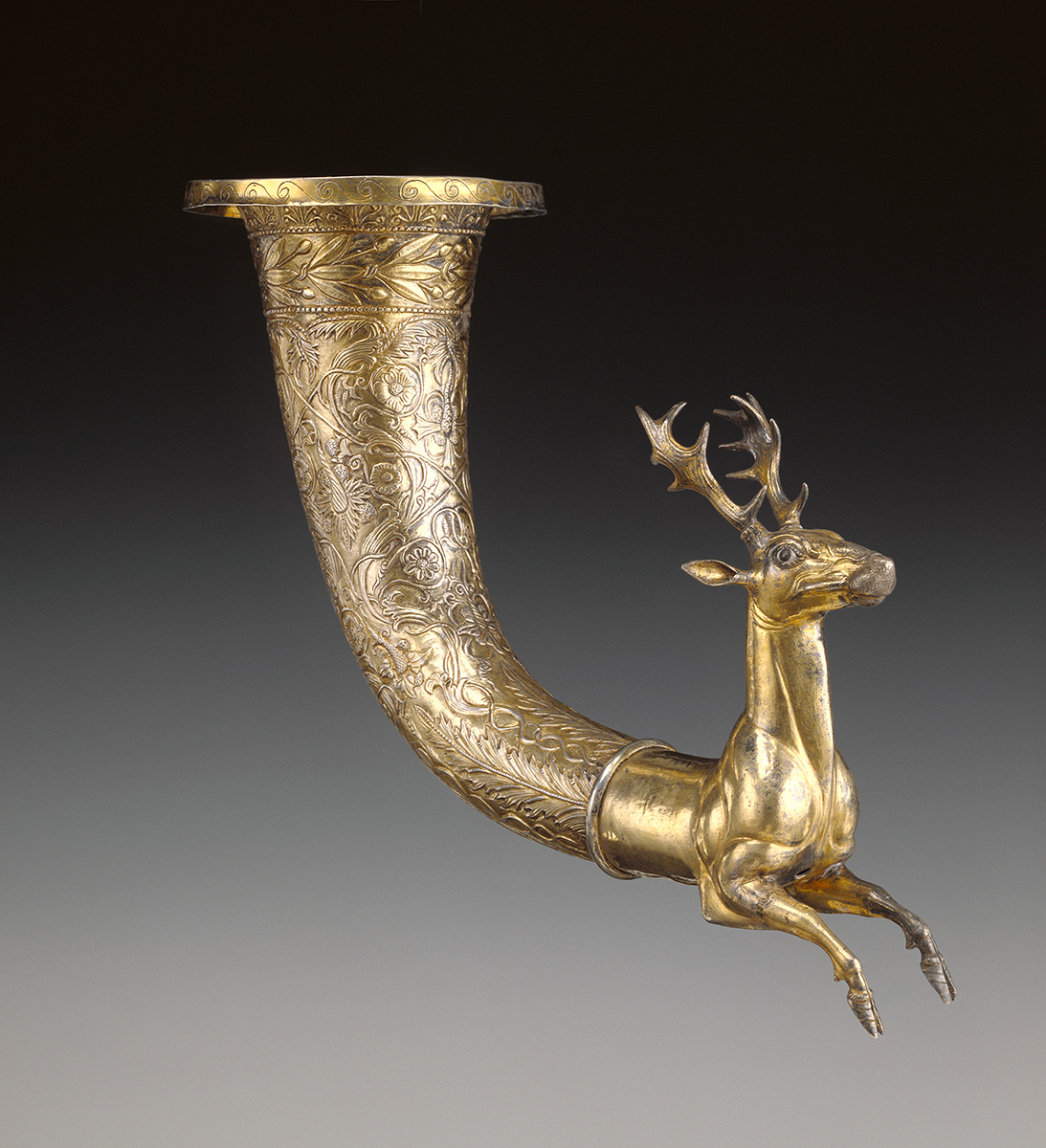 Rhyton with the forepart of a stag, Parthian, 50 BCE–50 CE. Gilt silver, garnet, glass. J. Paul Getty Museum, Los Angeles, 86.AM.753.