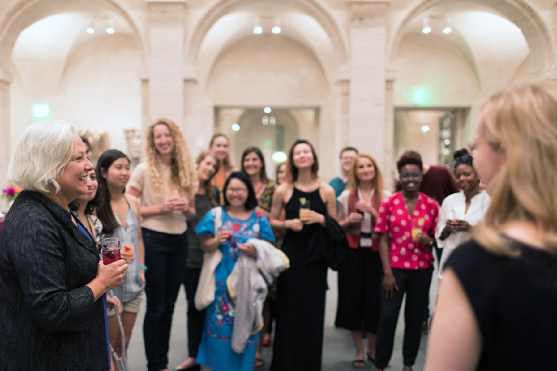Martha Tedeschi, the museums' Elizabeth and John Moors Cabot Director, thanks students for their involvement with the Harvard Art Museums during a Student Late Night event.