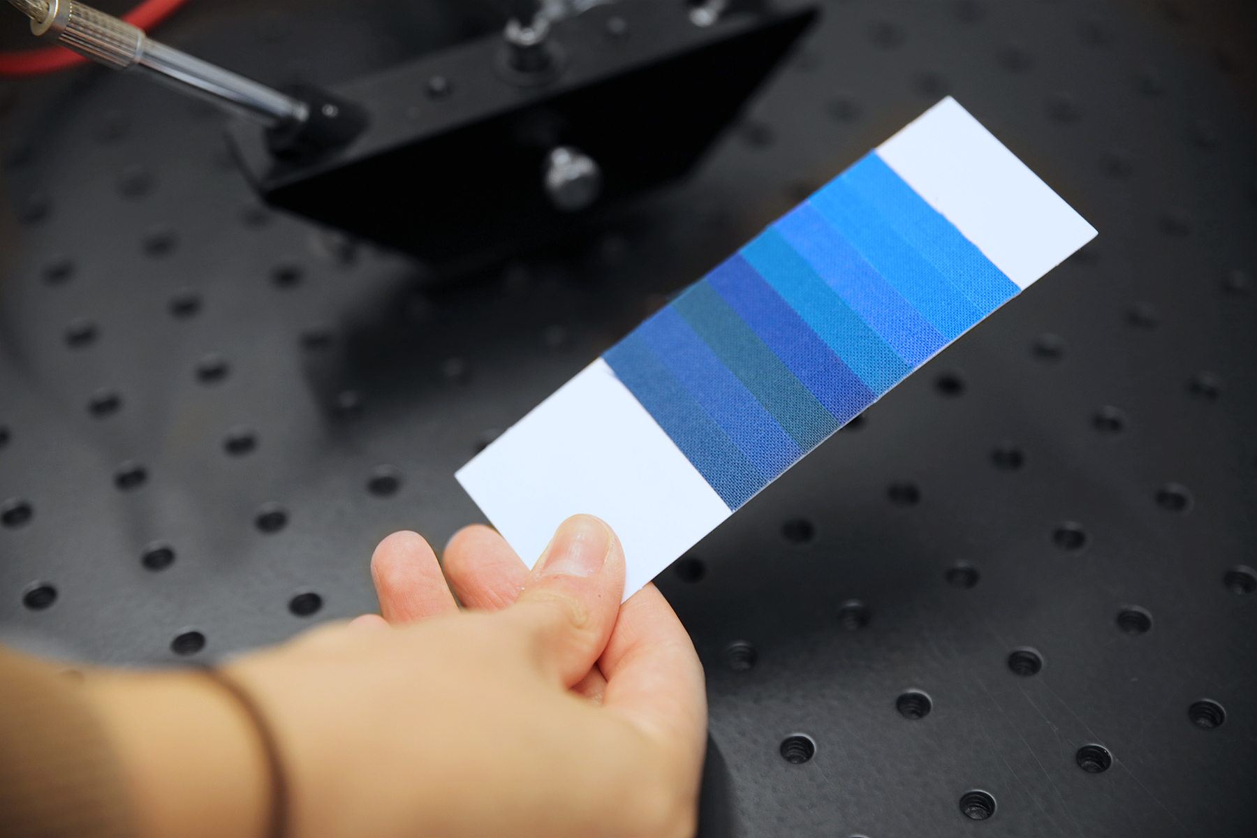 The eight Blue Wool Standards are available on a small card as reference for conservation scientists and others who are assessing light sensitivity.