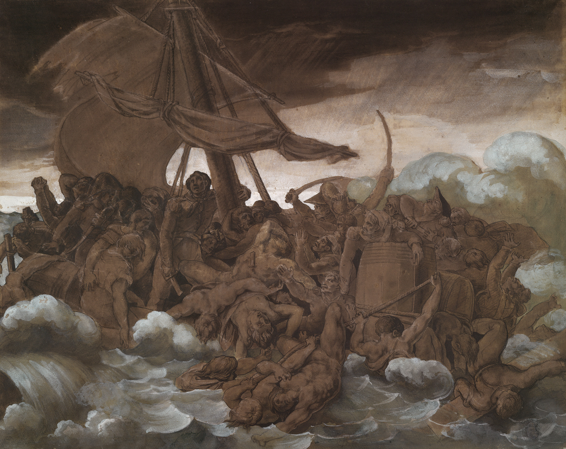 Théodore Géricault, French, The Mutiny on the Raft of the Medusa, 1818. Drawing. Harvard Art Museums/Fogg Museum, Bequest of Grenville L. Winthrop, 1943.824.