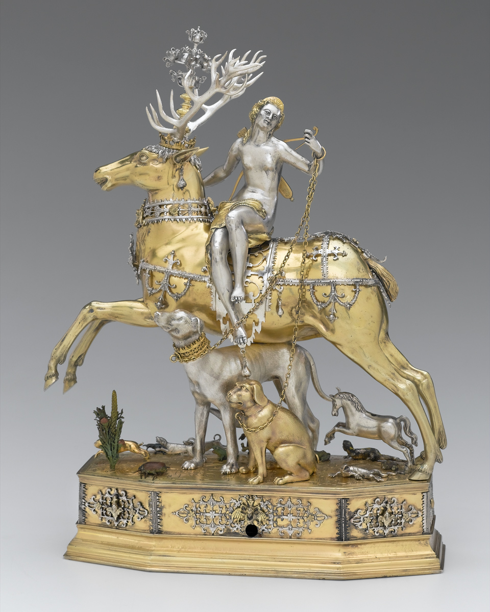 Joachim Fries, German, Diana and stag automaton, 1610–20. Cast and chased silver, partially gilded and painted with translucent lacquers. Museum of Fine Arts, Boston, Museum purchase with funds donated anonymously and the William Francis Warden Fund, Frank B. Bemis Fund, Mary S. and Edward Jackson Holmes Fund, John Lowell Gardner Fund, and by exchange from the Bequest of William A. Coolidge, 2004.568. © 2018 Museum of Fine Arts, Boston.