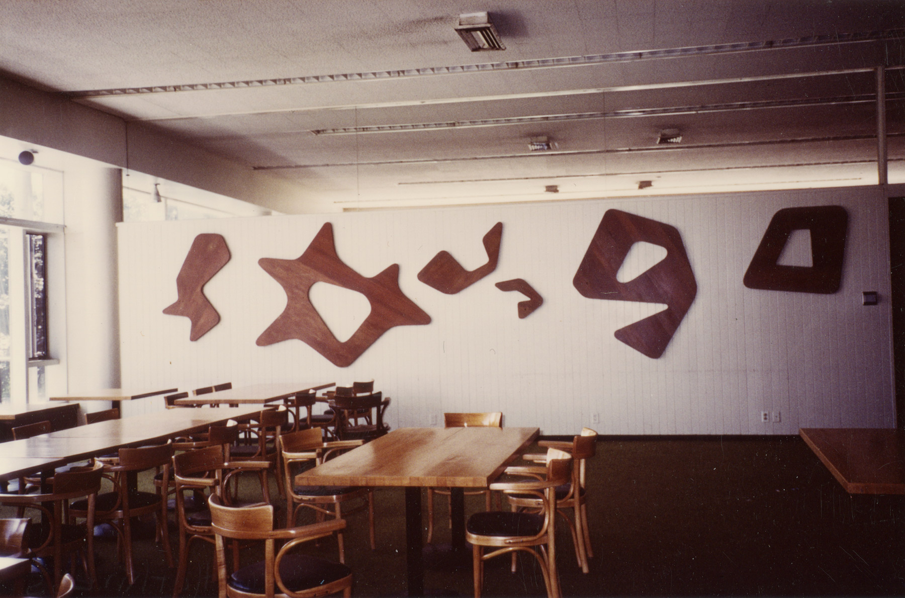 South wall of Constellations II, 1985. Harvard Law School Buildings Collection, Special Collections, Harvard Law School Library, Harvard University. Photo: Aimée Bleikasten. Again, it's clear that the paint has been stripped off of the panels.