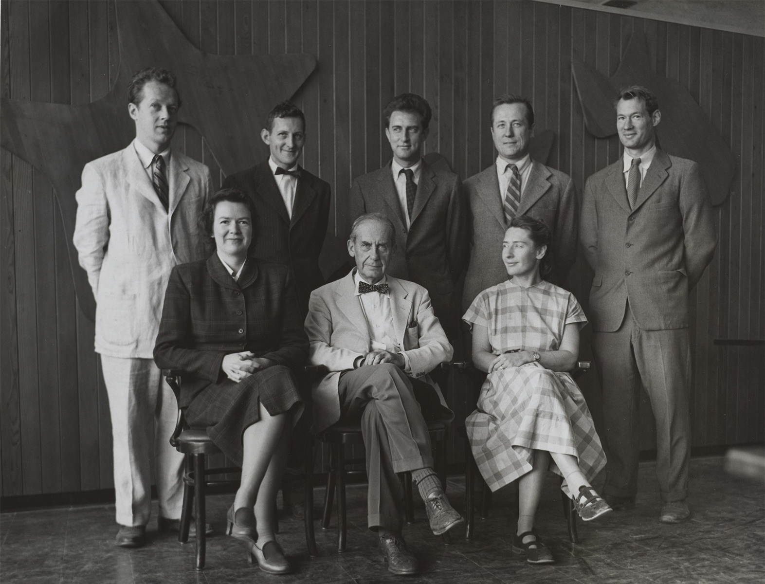 Members of The Architects Collaborative in front of Constellations, 1950. Gelatin silver print. Harvard Law School Buildings Collection, Special Collections, Harvard Law School Library, Harvard University. Photo: Walter R. Fleischer. Sitting left to right: Jean B. Fletcher, Walter Gropius, Sarah Harkness. Standing left to right: Benjamin Thompson, Norman C. Fletcher, Robert S. McMillan, Louis A. McMillen, John C. Harkness.