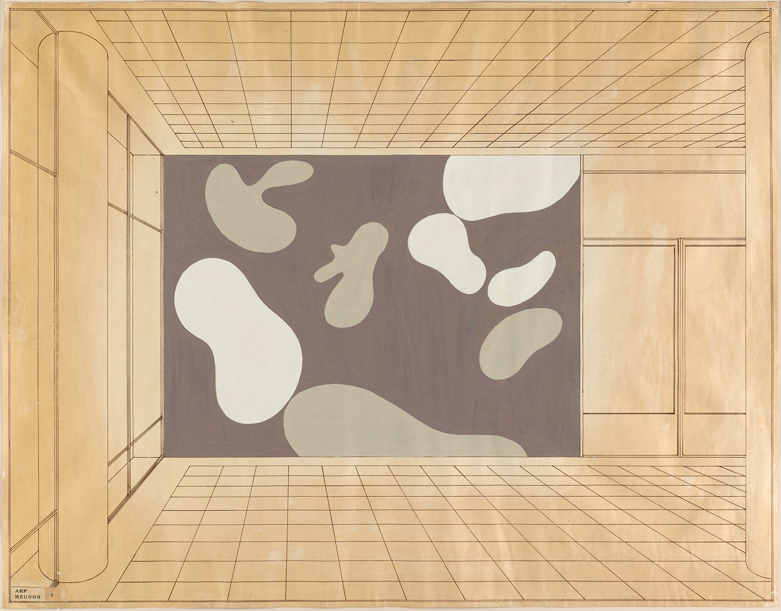 Hans Arp, French, Abstraction, 1950. Opaque watercolor and black ink on off-white wove paper with architectural design. Harvard Art Museums/Fogg Museum, Transfer from the Harvard Corporation, 1951.119.