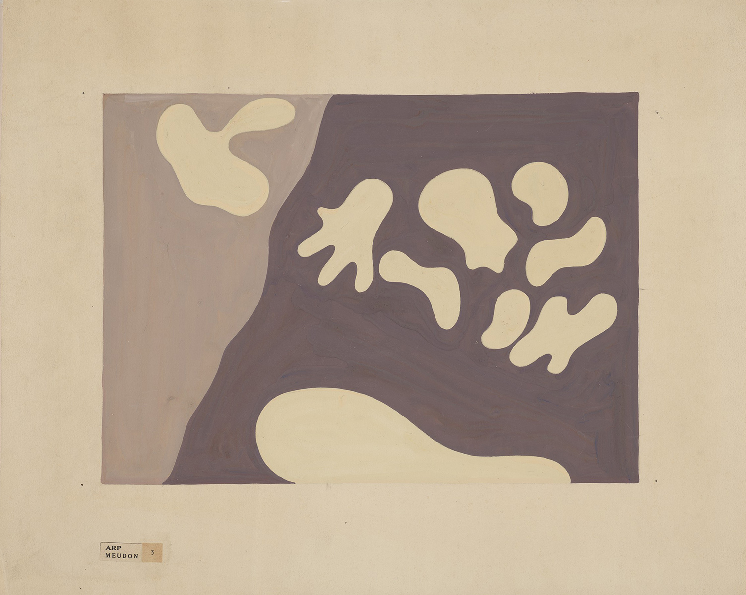 Hans Arp, French, Abstraction, 1950. Opaque watercolor on cream wove paper. Harvard Art Museums/Fogg Museum, Transfer from the Harvard Corporation, 1951.120.