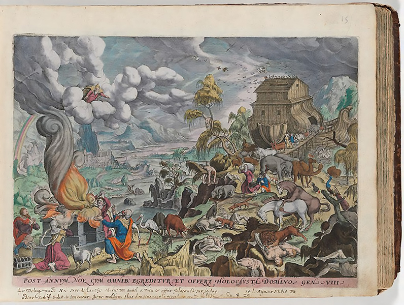 After Hans Bol, Netherlandish, Noah's Ark, from Thesaurus Sacrarum, 1585. Engraving with transparent and opaque washes. Harvard Art Museums/Fogg Museum, Gift of Barbara Ketcham Wheaton in memory of Robert Bradford Wheaton, 2011.613.12.