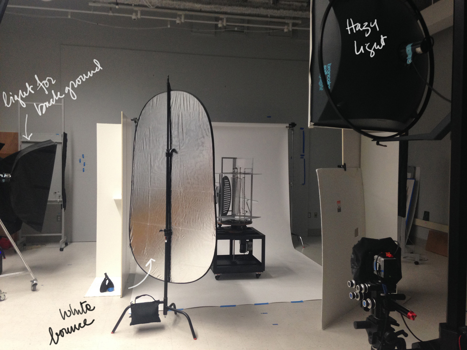 The studio is ready to photograph a  sculpture by László Moholy-Nagy, which will be featured in the upcoming Bauhaus and Harvard exhibition.