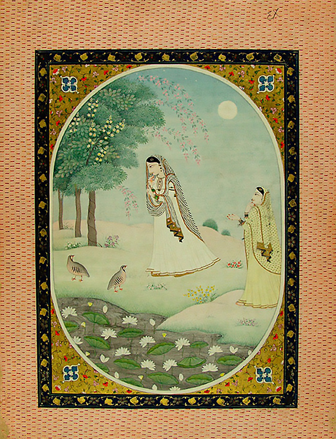 Abhisarika Nayika Entering a Forest, India, Himachal Pradesh, Kangra, 19th century. Opaque watercolor and gold on paper. Harvard Art Museums/Arthur M. Sackler Museum, Gift of John Kenneth Galbraith, 1972.76.