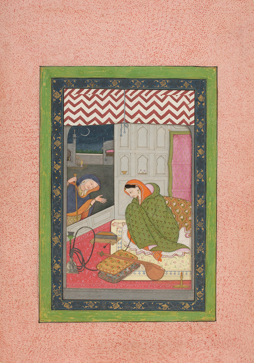 Virahtokanthita Nayika Waiting for Her Lover on a Winter Night, India, Himachal Pradesh, Kangra, late 18th century. Opaque watercolor and gold on paper. Harvard Art Museums/Arthur M. Sackler Museum, Gift of Suzanne and Frederic Weinstein in memory of Eleanor Dodge Barton and Marjorie R. Hubbard, 1991.179.