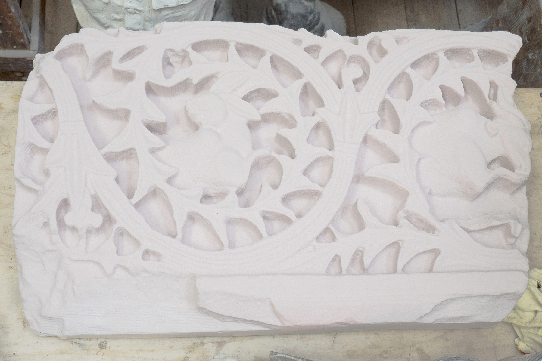 A 3D-printed reproduction before installation and painting.
