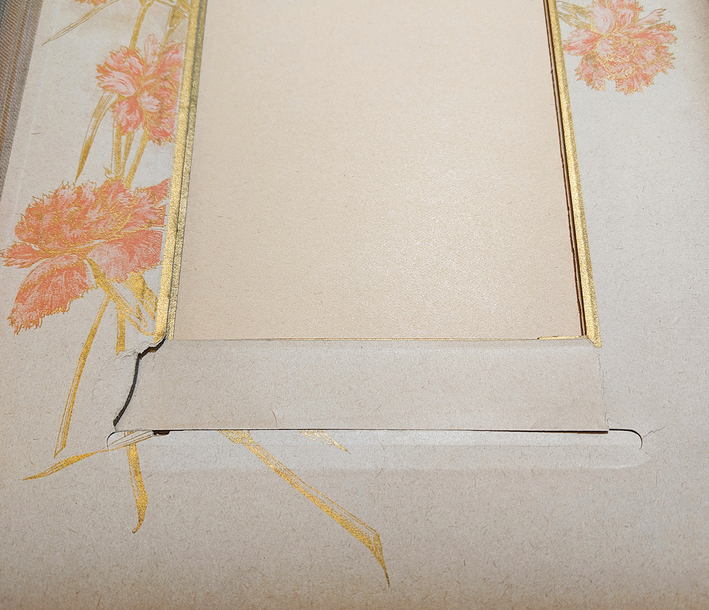 Improper removal of photographs damaged the ornate edges of the album's pages.