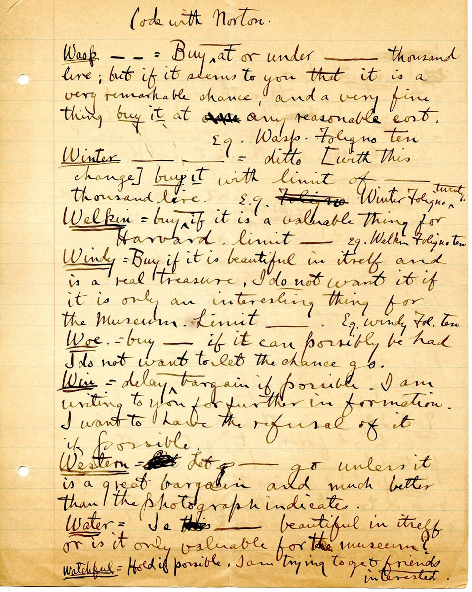 Handwritten page from Edward Waldo Forbes's personal papers describing a code used to communicate with Richard Norton.