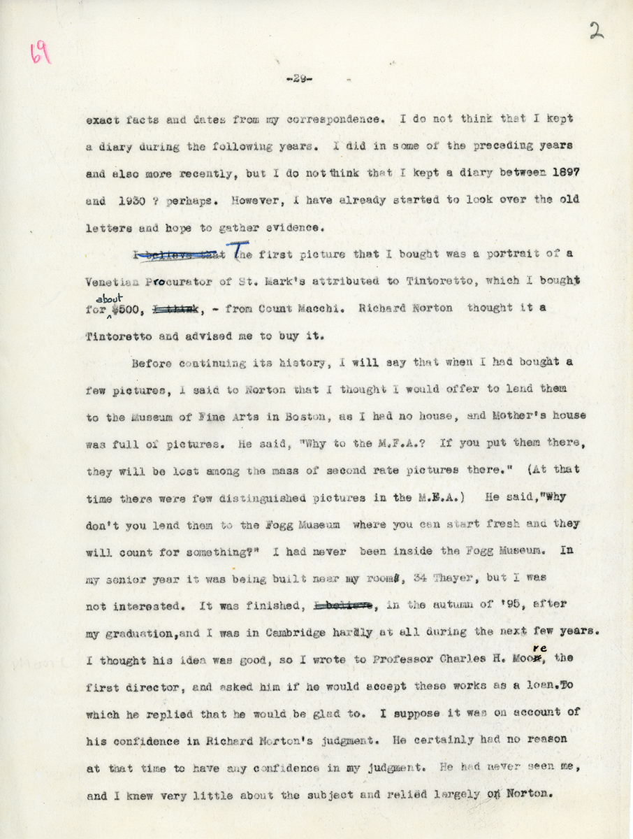 """Typewritten page from """"Art Notes,"""" an unpublished memoir by Edward Waldo Forbes."""