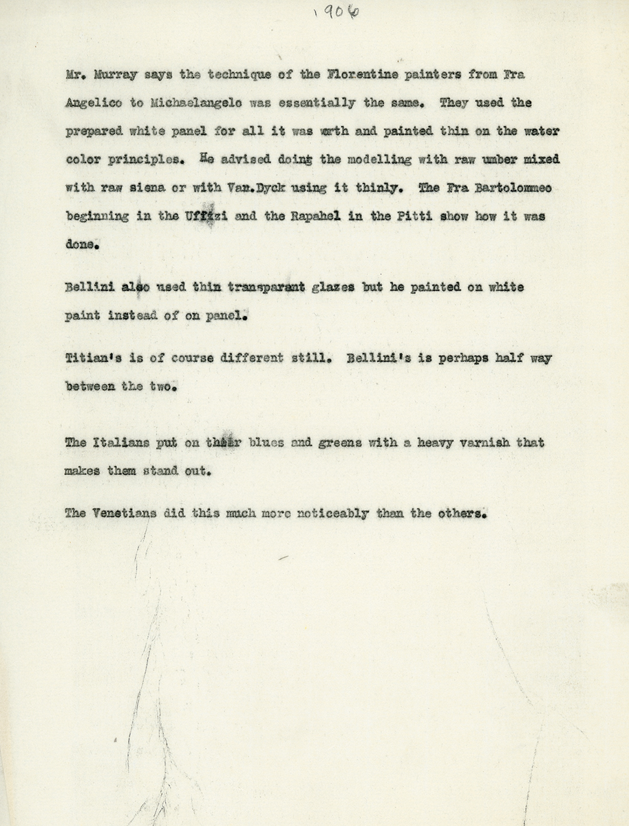 Typewritten archival notes on Florentine painting, by Edward Waldo Forbes.