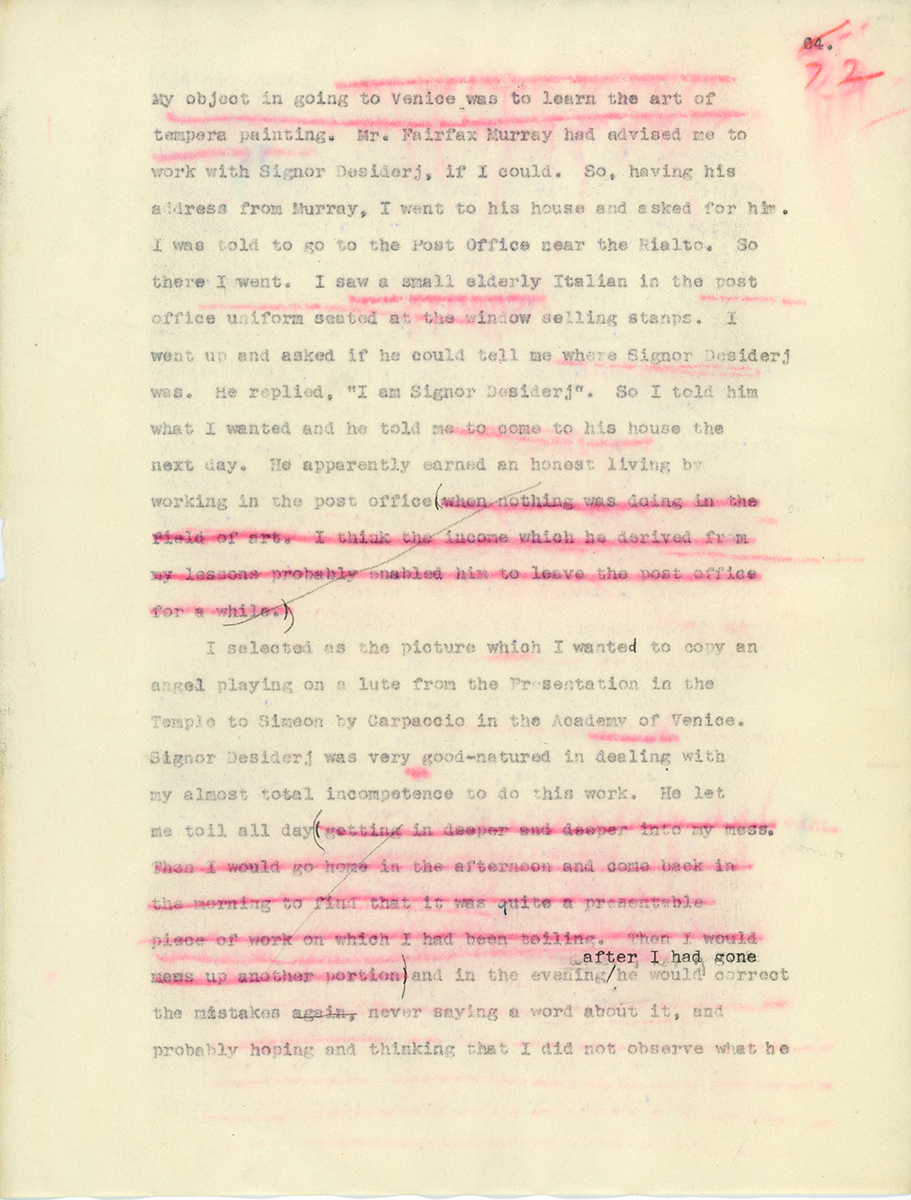 """Typewritten page from """"Art Notes,"""" an unpublished memoir by Edward Waldo Forbes, with some sections crossed out or underlined in red."""